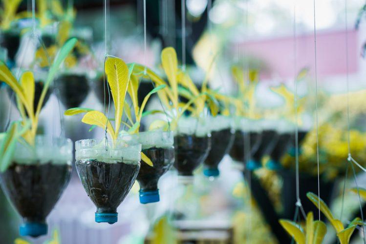 Plantenbakken van plastic afval
